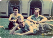 Leonard Kessler's ca. 1948 photograph Andy Warhol, Dorothy Cantor, and Philip Pearlstein on Carnegie Institute of Technology campus, courtesy of the Archives of American Art, Smithsonian Institution.