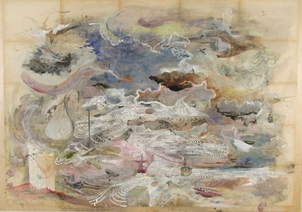 "Josh Dorman, ""Fledgling Lament,"" Ink on antique paper on panel, 34""x42"", 2003"