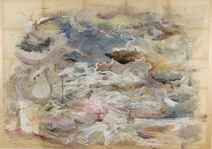 "Josh Dorman, ""Fledgling Lament,"" Ink on antique paper on panel, 34""x42"", 2003"