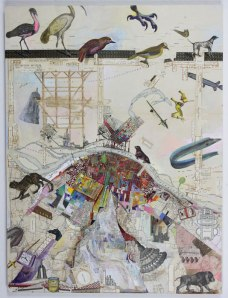 "Josh Dorman, ""London Bridge,"" Acrylic, collage on panel, 24""x18"", 2015"