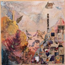 "Josh Dorman, ""Reversal in A Minor,"" Ink, collage on panel, 18""x18"", 2012"