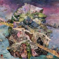 "Josh Dorman, ""Mined Land,"" Ink, acrylic, antique paper on panel, 76""x96"", 2014"