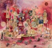 "Josh Dorman, ""Red Moon,"" Ink, acrylic, antique paper on panel, 42""x38"", 2014"