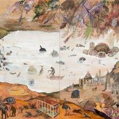 "Josh Dorman, ""The Sorrows,"" Ink, acrylic, antique paper on panel, 40""x96"", 2013"
