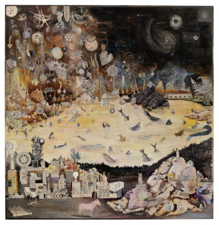 "Josh Dorman, ""A Mighty Rain,"" Ink, acrylic, collage on panel, 33""x34"", 2011"