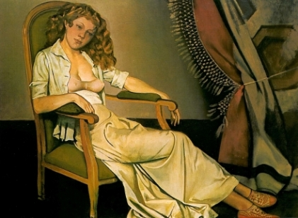 """Balthus, """"The White Skirt (1937)"""" Oil on canvas. Private Collection"""