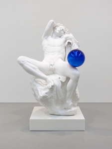 """Gazing Ball (Barberini Faun)"" by Jeff Koons. Plaster and glass, 70 x 48 x 54 7/8 inches, 177.8 x 121.9 x 139.4 cm  © Jeff Koons Edition of 3 plus 1 AP 2013"