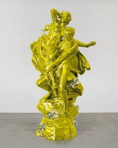 """""""Pluto and Proserpina"""" by Jeff Koons. Mirror-polished stainless steel with transparent color coating, live flowering plants, 129 x 65 3/4 x 56 5/8 inches, 327.7 x 167 x 143.8 cm © Jeff Koons 2010-2013"""