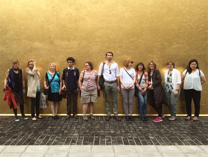 SACI MFA students at the Prada Foundation in Milan in front of architectural intervention by OMA