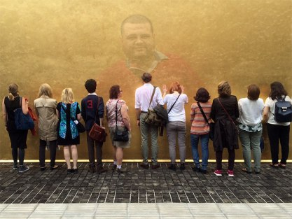 SACI MFA students at the Prada Foundation in Milan (with SACI student Fadi Daoud superimposed)