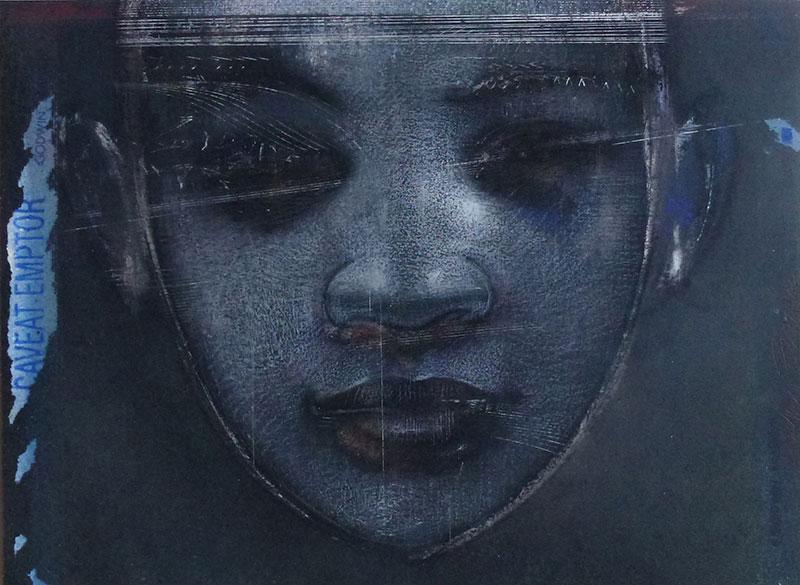 Godwin bradbeer blue portrait fragment three chinagraph pencil pastel