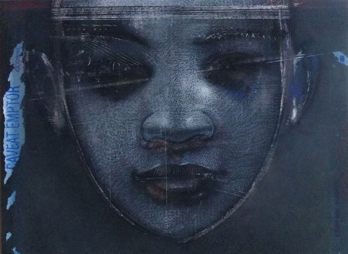 "Godwin Bradbeer, ""Blue Portrait-Fragment Three,"" Chinagraph pencil, pastel, silver oxide, ink 2012 (for the CAD exhibition series). Courtesy of James Makin Gallery, Melbourne."