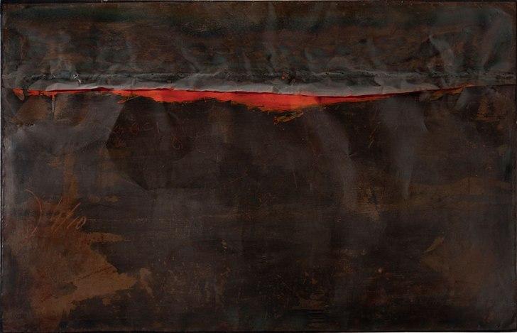 Alberto Burri, 'Ferro SP' (Iron SP), 1961, welded iron sheet metal, oil, and nails on wood framework, 130 x 200 cm. Galleria nazionale d'arte moderna e contemporanea, Rome © Fondazione Palazzo Albizzini Collezione Burri, Città di Castello/2015 Artist Rights Society (ARS), New York/SIAE, Rome. Photo: Antonio Idini, Soprintendenza alla Galleria nazionale d'arte moderna e contemporanea, courtesy Ministero per i Beni e le Attività Culturali