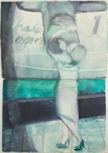 "Carole Robb, ""Hades Express"" Watercolor on handmade paper, 30"" x 44"" / 76.2cm x 111.76 cm, 2015"