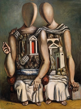 Giorgio de Chirico, Gli Archeologi, 1961 ca., olio su tela / oil on canvas, 80x60 cm, Collezione Merlini, Busto Arsizio (VA)