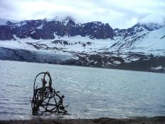 "Keri Rosebraugh, ""Home Is Transparent,"" Sculpture, Installation 2015, Kelp, Twine, Lemon in Arctic Ocean, 60cm x 30cm, Fjortende Julibukta, Spitsbergen, Norway"