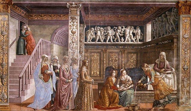 Domenico Ghirlandaio, Nascita della Vergine, 1486; Firenze, Santa Maria Novella, cappella Tornabuoni