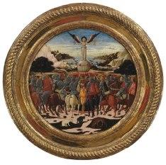 """Giovanni di ser Giovanni detto lo Scheggia, """"Trionfo della Fama, desco da parto per la nascita,"""" Lorenzo il Magnifico (1449); New York Metropolitan Museum"""