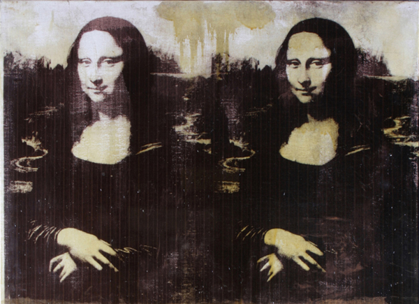 A detail of one of Warhol's many renditions of Mona Lisa