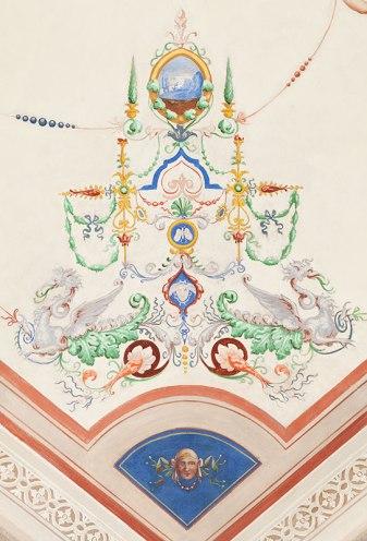 Ceiling fresco in SACI's Faculty Lounge, Palazzo dei Cartelloni. Photo ©Cristian Ceccanti.