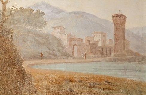 Wall fresco detail in SACI's Faculty Lounge, Palazzo dei Cartelloni. Photo ©Cristian Ceccanti.