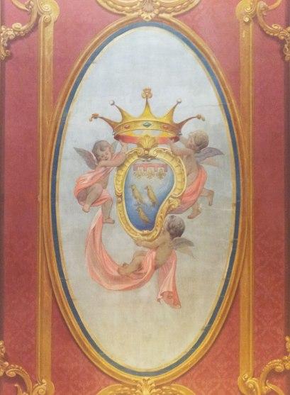 Ceiling fresco detail in SACI's Palazzo dei Cartelloni (Photo: Naomi Muirhead)
