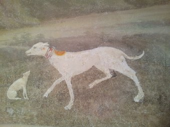 Wall fresco detail (dogs) in SACI's Faculty Lounge, Palazzo dei Cartelloni.