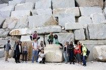 SACI sculpture students visiting the marble caves of Carrara