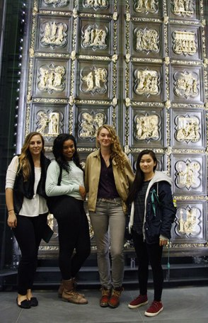 SACI students in front of the Baptistry doors in the Museo del Duomo, Florence