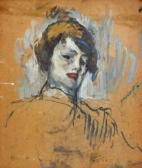 """Henri de Toulouse-Lautrec """"Tete de femme,"""" 1896 olio su cartone, 42 x 36 cm, Fondation Georges Bemberg"""