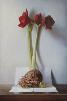"""Gregory Blanche: """"Amaryllis Bulb,"""" oil on canvas, 26.3 x 15.7 inches (60 x 40 cm), 2011"""