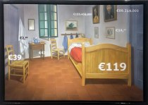 "Gregory Blanche, ""Bed at Arles €119,"" oil on canvas, 35 x 50 cm, 2015"