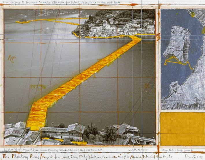 "Christo, Project for Lake Iseo, Italy, collage, 2014, 17x22"", pencil, wax crayon, enamel paint, map, fabric, tape. Photo: Wolfgang Volz ©2014 Christo"