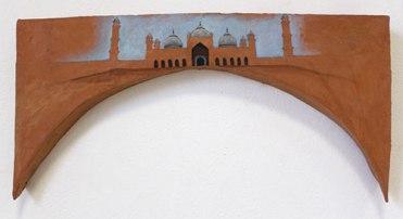 "Amaan Aslam, ""Badshahi Masjid"" (2015) Acrylic on ceramic 28 x 58 x 2cm"