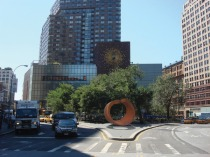 "Beverly Pepper, ""My Circle,"" 2008, Cor-Ten steel, 173 1/4 x 165 x 110 1/4 inches, 440 x 419 x 280 cm. Photo of the work installed at Union Square, NYC."