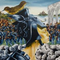 """Jarrett Min Davis, """"Iliad,""""oil&charcoalon linen,22""""x18"""",2007"""