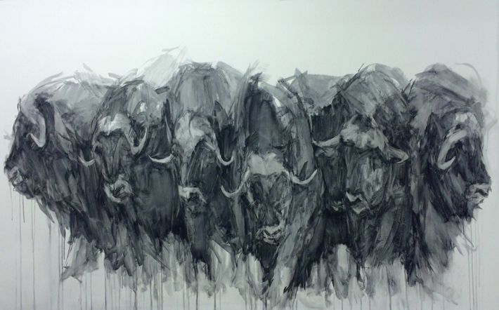 "Katie Pumphrey, ""Heads and Horns"" 60"" x 92"", charcoal on canvas, 2016"