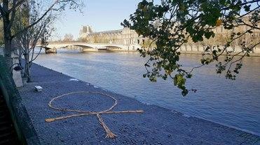"Keri Rosebraugh, ""An Ankh for Paris"" 200 Baguettes Installation, 2015 Paris, France"