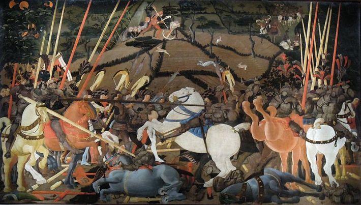 """Paolo Uccello, """"Niccolò Mauruzi da Tolentino unseats Bernardino della Ciarda at the Battle of San Romano"""" (dating uncertain, c.1435–1455), tempera on wood, 182 × 320 cm, Galleria degli Uffizi, Florence"""