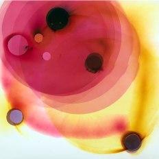 "Rosemarie Fiore, Smoke Eclipse #42, 2015, lit smoke firework residue on Sunray paper, 28 x 28"""