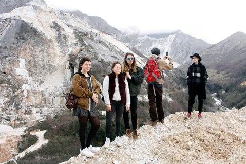 SACI sculpture students at the quarry in the Bacino di Gioia, Colonnata, Carrara