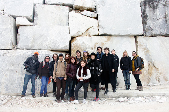 SACI sculpture students at the quarry in the Bacino di Gioia, Colonnata, Carrara