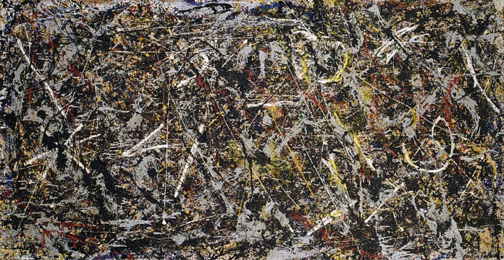 "Jackson Pollock, ""Alchemy,"" Oil, aluminum, enamel paint, and string on canvas, 114.6 x 221.3 cm, 1947, Solomon R. Guggenheim Foundation Peggy Guggenheim Collection, Venice, The Pollock-Krasner Foundation/Artists Rights Society (ARS), New York."