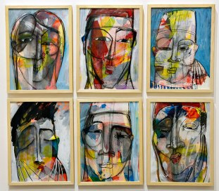 """Fadi Daoud, """"Six Faces,"""" mixed media on paper, 2016"""
