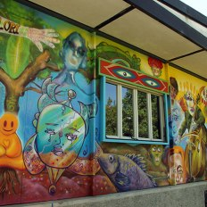 Mural painting by SACI student, John Gringich, at Fili e Colori, Florence
