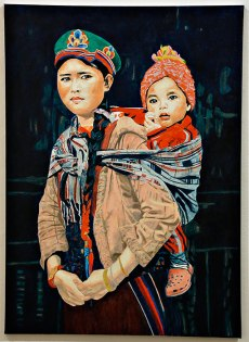 "Lisa A. Fracica, ""Tamang Mother and Child,"" oil, gold, silver leaf on canvas, 2015-2016"
