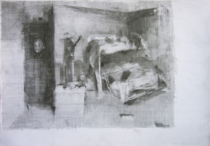 "Pietro Manzo, ""Two beds and Albert Einstein,"" pencil on paper, cm 35×50"