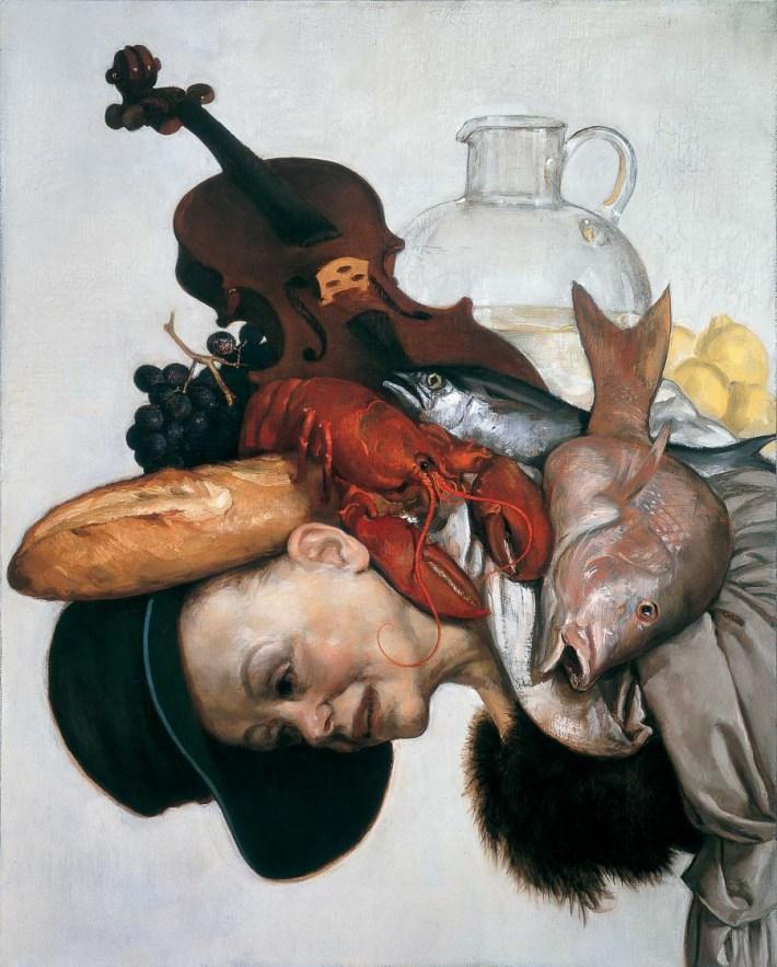 John Currin, The Lobster, 2001 Olio su Tela, 81.3 x 101.6 cm | Dianne Wallace: New York © John Currin - Courtesy Gagosian Gallery