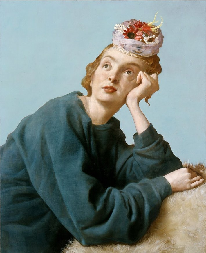 John Currin, The Penitent, 2004, Olio su tela, 86.4 x 106.7 x cm | Private Collection © John Currin - Courtesy Gagosian Gallery - Photo by Rob McKeever
