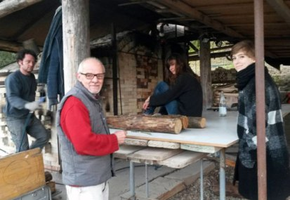 Wood firing at La Meridiana